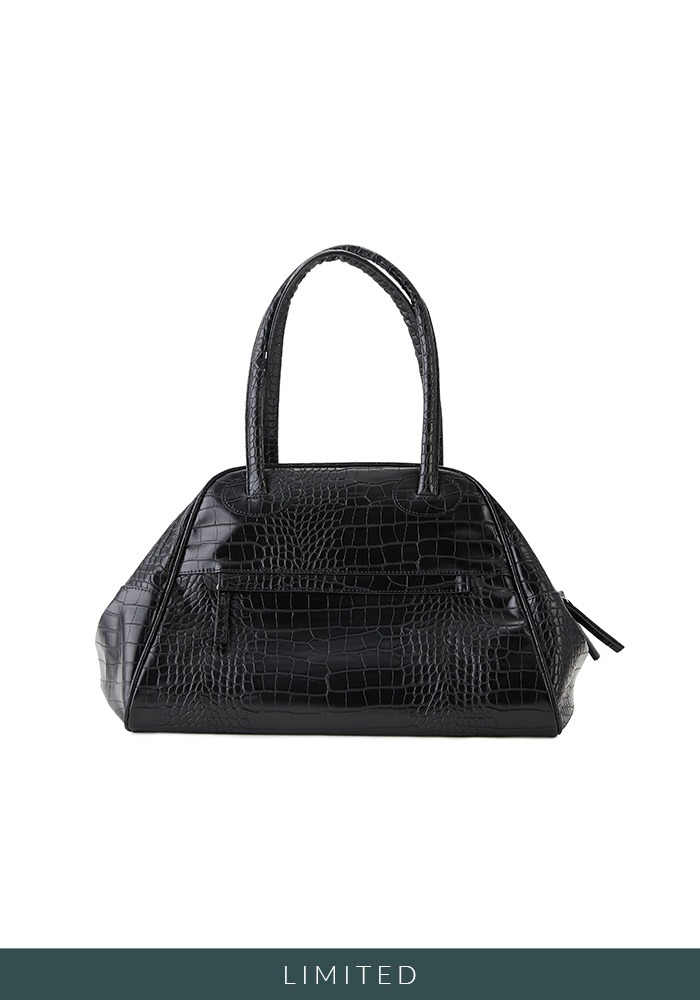 TWO ZIPPER BAG CROC ORIGINAL (BLACK PEPPER)