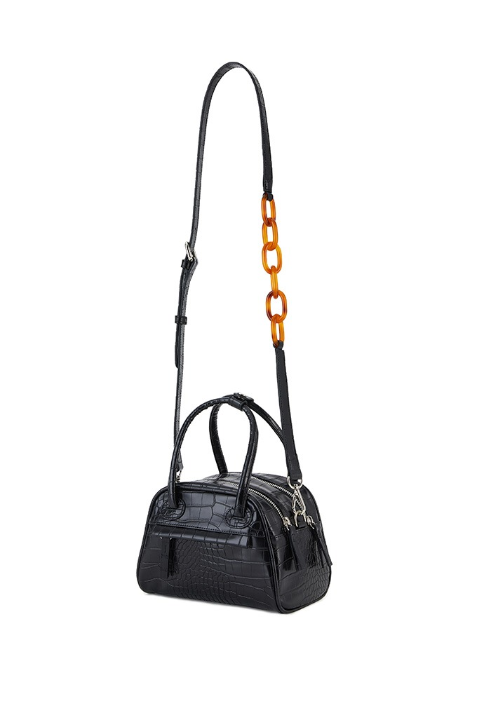 TWO ZIPPER BAG CROC MINI (BLACK PEPPER)